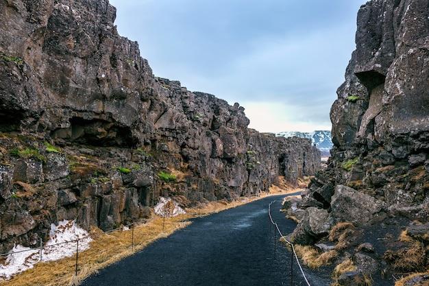 Parque nacional de pingvellir, placas tectônicas na islândia.