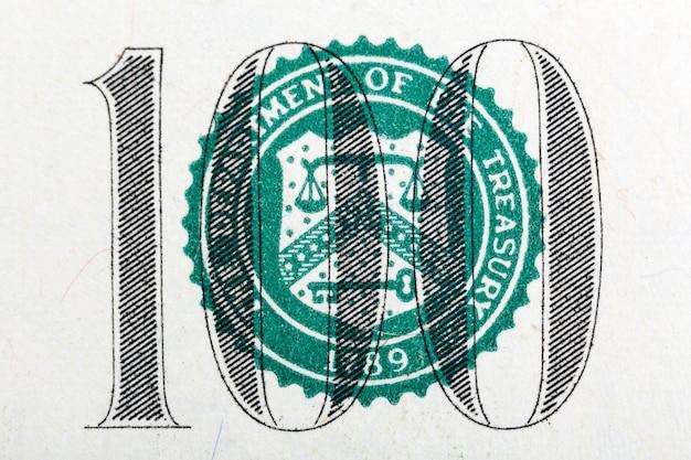 Parte da nota de cem dólares em macro. foto de alta resolução.