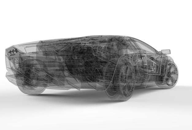 Parte de trás do carro de estrutura de arame