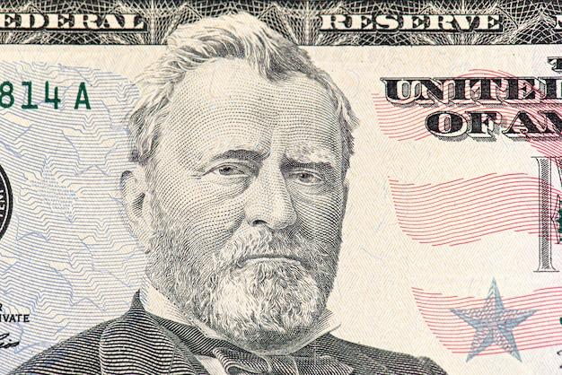 Parte do close-up da nota de 50 dólares com o presidente dos eua, ulysses grant