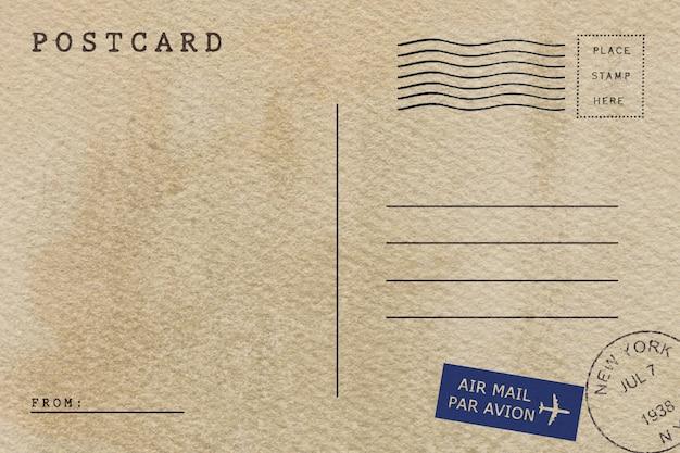 Parte traseira do cartão do correio aéreo do vintage