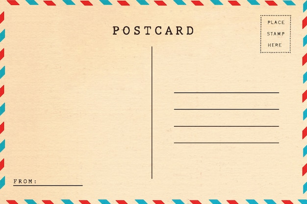 Parte traseira do cartão em branco do correio aéreo.