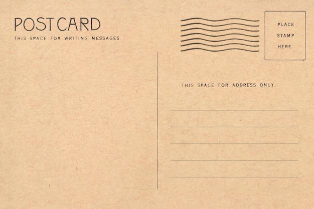 Parte traseira do cartão em branco do vintage.