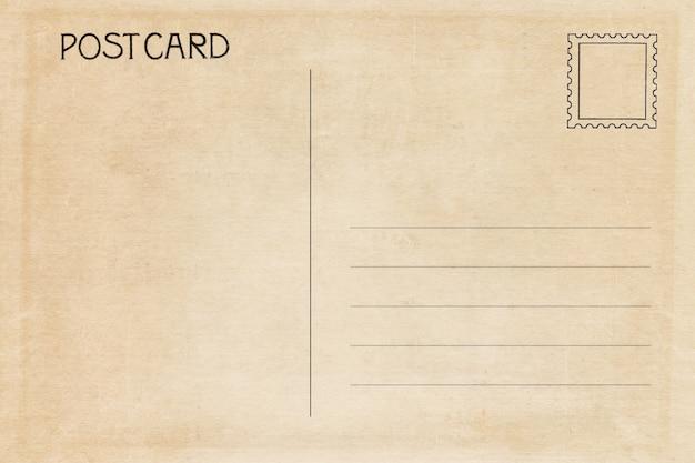 Parte traseira do cartão em branco vintage