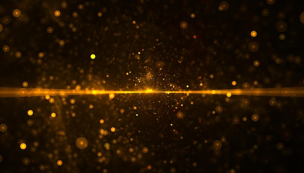 Partícula de glitter dourado com feixe de luz