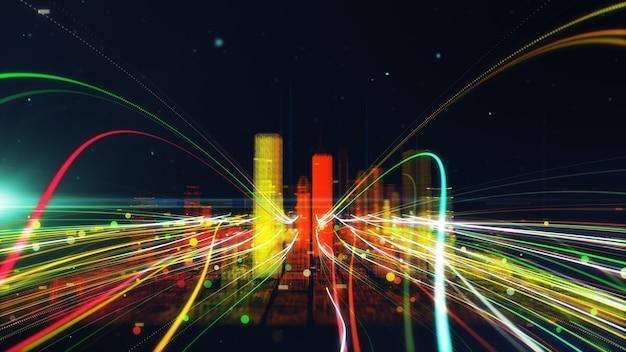 Partícula de linha colorida conexão de rede futurista digital de dados da cidade. conceito de tecnologia.