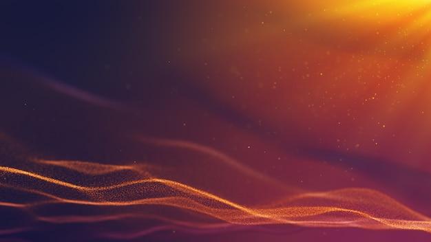 Partícula de poeira forma vermelho amarelo roxo, feixe de raio de luz, renderização em 3d