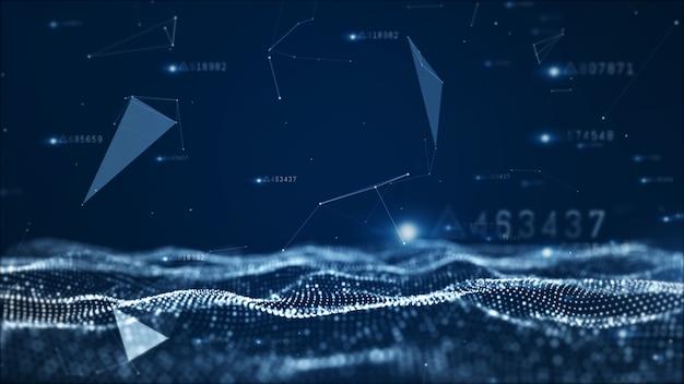 Partículas abstratas digitais e fundo de dados de rede