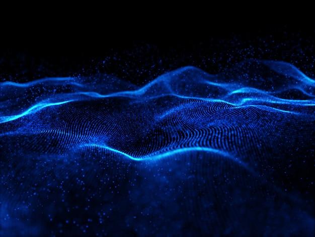 Partículas cibernéticas 3d fluindo com profundidade de campo rasa