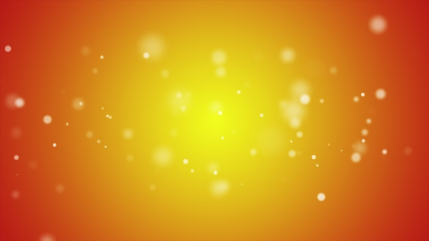 Partículas cintilantes, movimento aleatório de partículas na cor laranja, ilustração 3d
