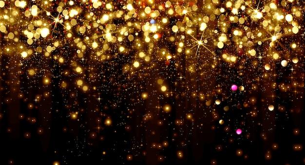 Partículas de bokeh dourado caindo e estrelas em um fundo preto, conceito de feriado de ano novo feliz