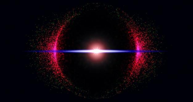 Partículas de brilho abstrato em círculo sobre fundo preto