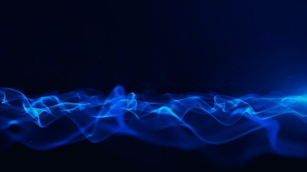 Partículas de cor abstrata azul digital com bokeh e luz de fundo