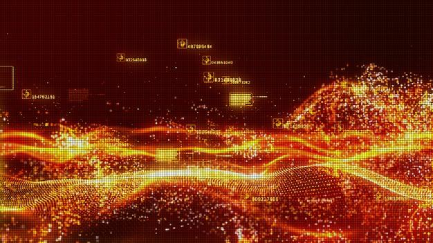 Partículas de cor vermelha fluxo de onda abstrato