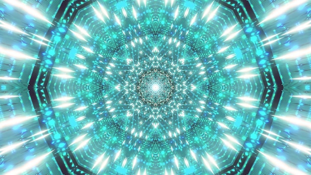 Partículas de estrela azul verde espacial ilustração 3d visual