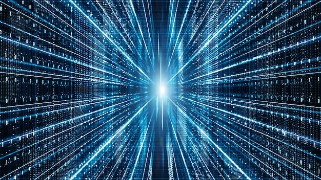 Partículas de matriz digital abstrata fluem fundo