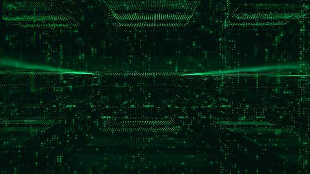 Partículas de matriz digital e fundo abstrato de grade
