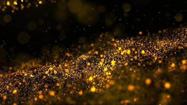 Partículas de onda digital abstrata cor ouro fluem e poeira fundo
