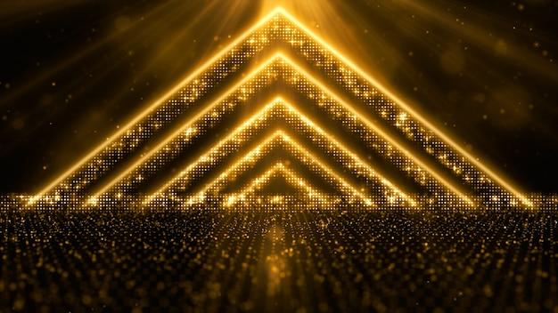 Partículas de ouro digital fluem com poeira e bokeh