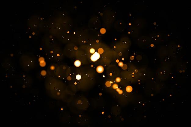 Partículas de poeira backlit reais com reflexo de lente real