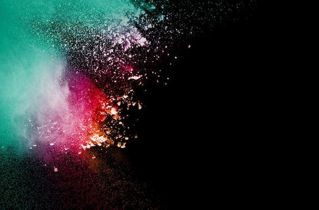 Partículas de poeira colorida salpicadas