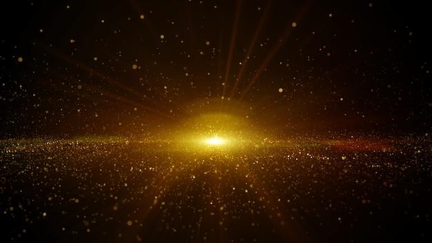 Partículas digitais abstratas de ouro fluindo com poeira e luz de fundo