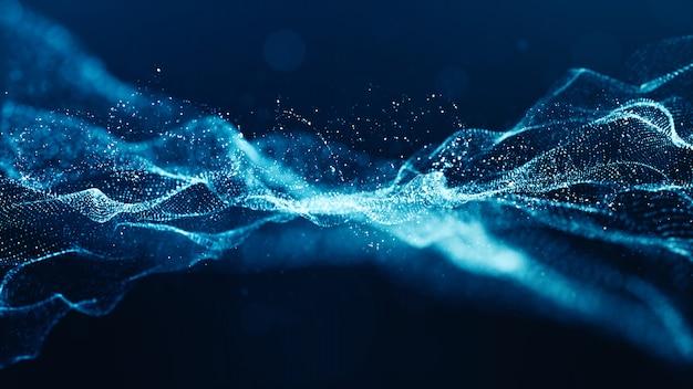 Partículas digitais de cor azul abstrato onda com bokeh e luz