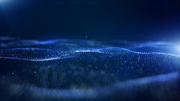 Partículas digitais de cor azul abstrato onda de fundo