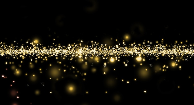 Partículas douradas brilhantes no escuro