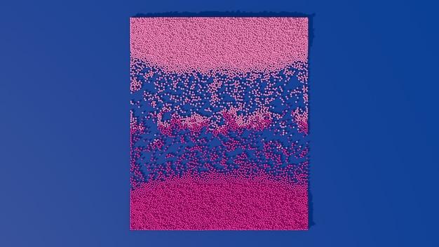 Partículas rosa e roxas se misturando. fundo azul. ilustração abstrata, renderização 3d.