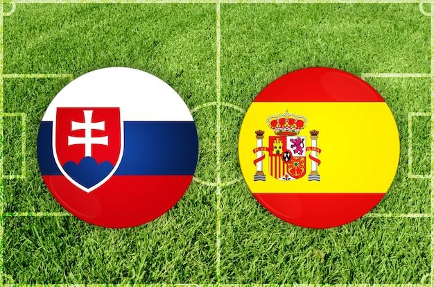 Partida de futebol da eslováquia x espanha