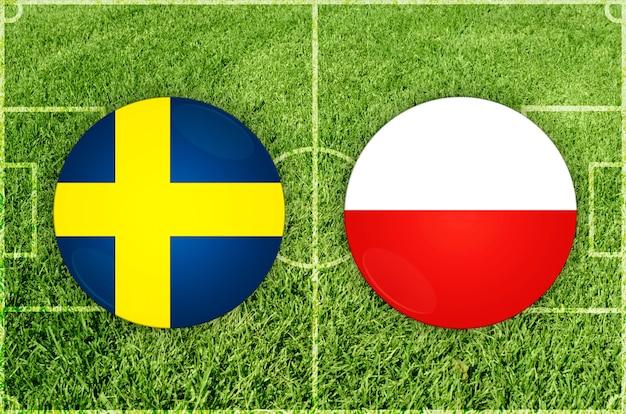 Partida de futebol suécia x polônia