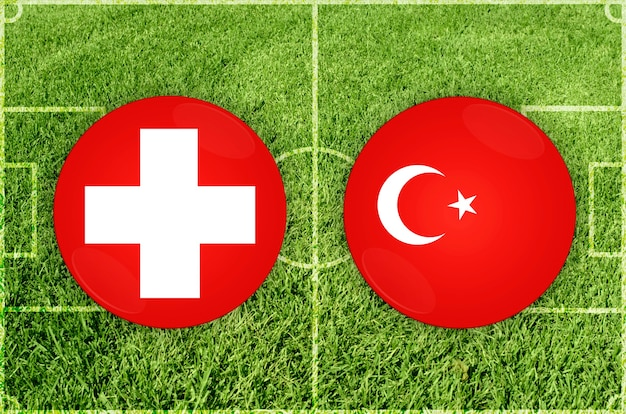 Partida de futebol suíça x turquia