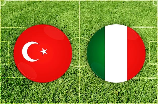 Partida de futebol turquia x itália