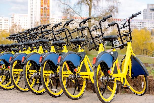 Partilha de bicicletas na europa. caminhada saudável.