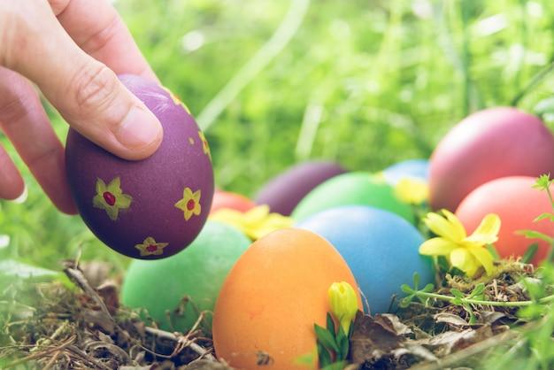 Páscoa colorida domingo caça decorações do feriado páscoa conceito fundo
