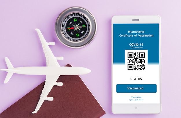 Passaporte de avião modelo e passe de imunidade são arranjados aplicativo no smartphone