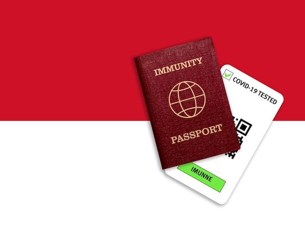 Passaporte de imunidade e resultado do teste para covid-19 na bandeira do mônaco. certificado para pessoas que já tiveram coronavírus ou fizeram vacina.