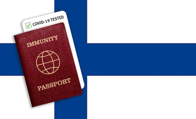 Passaporte de imunidade na bandeira nacional da finlândia