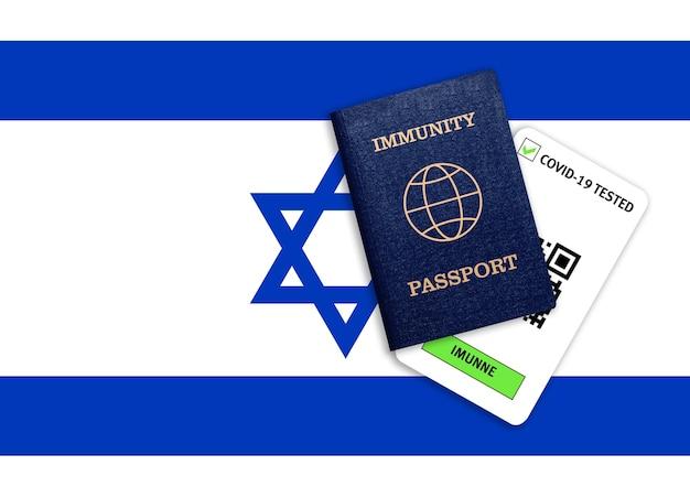 Passaporte de imunidade para viagens após pandemia e resultado do teste para covid na bandeira de israel