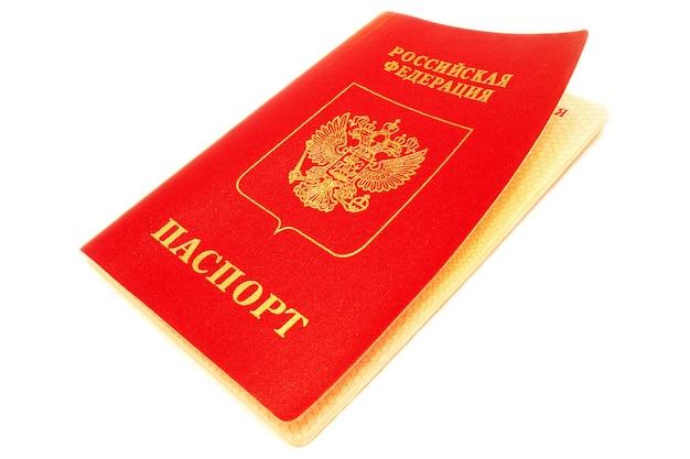 Passaporte russo isolado no fundo branco.