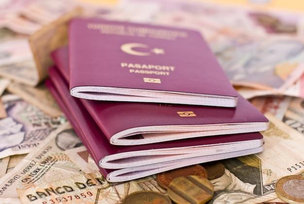Passaportes estrangeiros e dinheiro de diferentes países