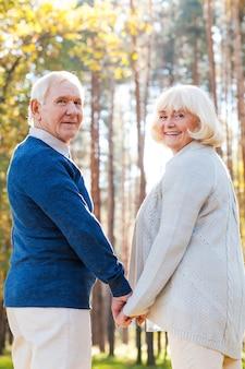 Passar tempo juntos. vista traseira de um casal feliz sênior de mãos dadas e olhando por cima do ombro enquanto caminham juntos pelo parque