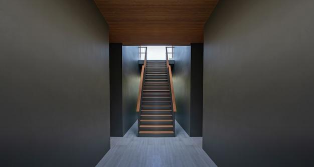 Passarela e escadas no fundo da parede preta