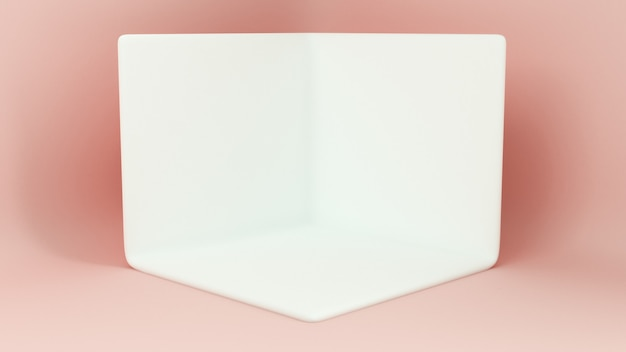 Passarela renderizada 3d. plataformas para apresentação de produtos, composição minimalista de mokap