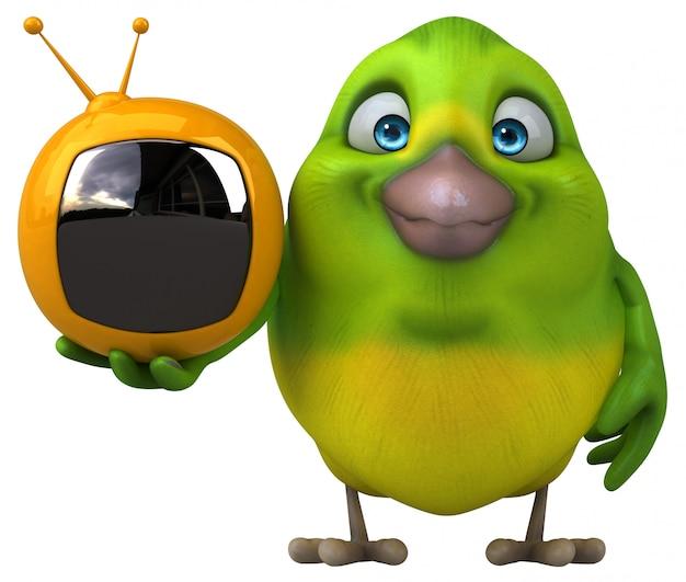 Pássaro verde divertido com tv retrô