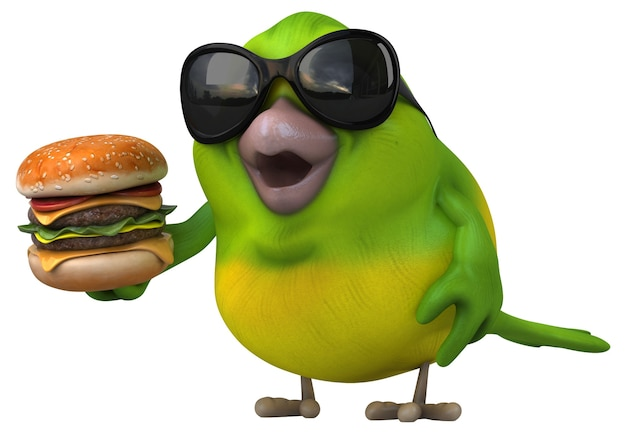 Pássaro verde divertido - ilustração 3d