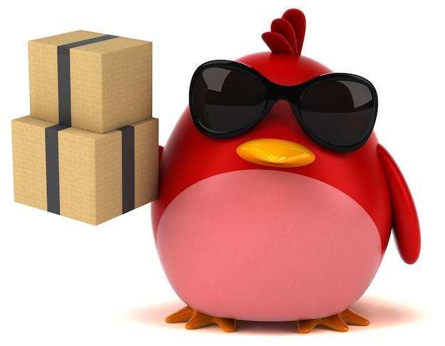 Pássaro vermelho - ilustração 3d