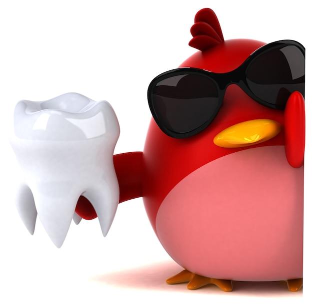 Pássaro vermelho - personagem 3d