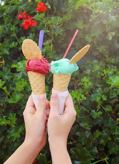 Passe segurar, dois, sorvete, ligado, fundo, com, flores, e, folheia